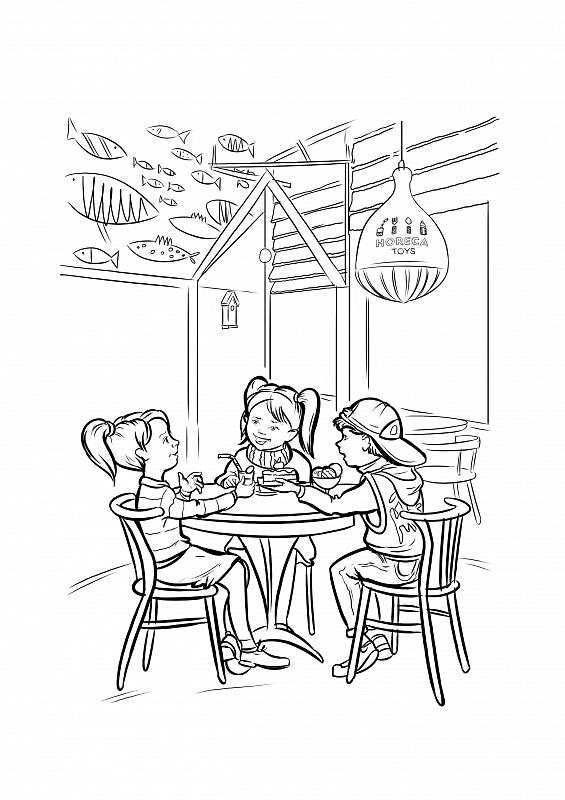 Картинка кафе раскраска для детей